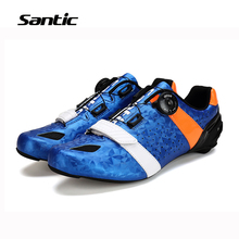 Santic Road Cycling Shoes Ultralight Carbon Fiber Sole Professional Road Bike Shoes Auto-Lock Bicycle Shoes Sapatilha Ciclismo