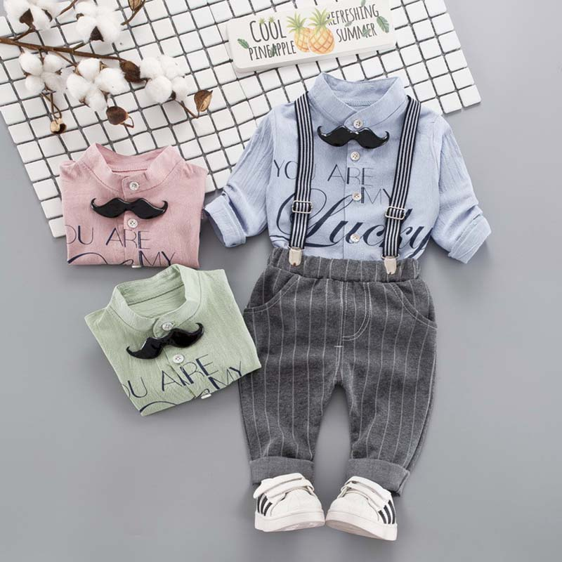 Newborn Suits Shirt Bib-Pants Baby-Boy-Clothes-Set Infant Clothing Gentleman Tops Children
