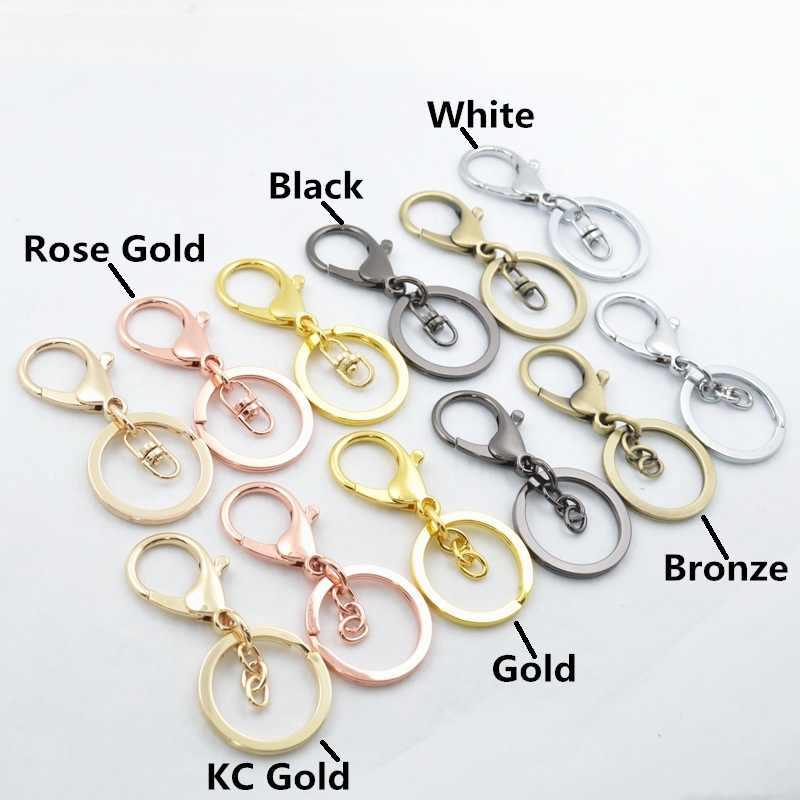Alta qualidade moda ouro prata chaveiro anel jóias fazendo diy acessórios saco encantos carro chaveiro peças de brinquedo chaveiro trinket