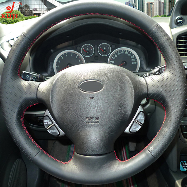 XUJI Black Leather Hand -stitched Car Steering Wheel Cover for Old Hyundai Santa Fe