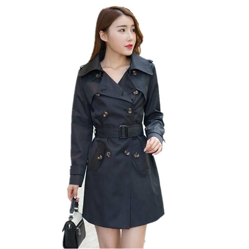 2018 Autumn Coat Plus Size XXXXXL Slim Lapel Epaulet Double-Breasted Casaco Feminino Long Section Trench Coat For Women C3062