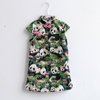 Summer kids clothing baby panda cotton dress children girl Chinese style clothes mother daughter dresses family matching outfits