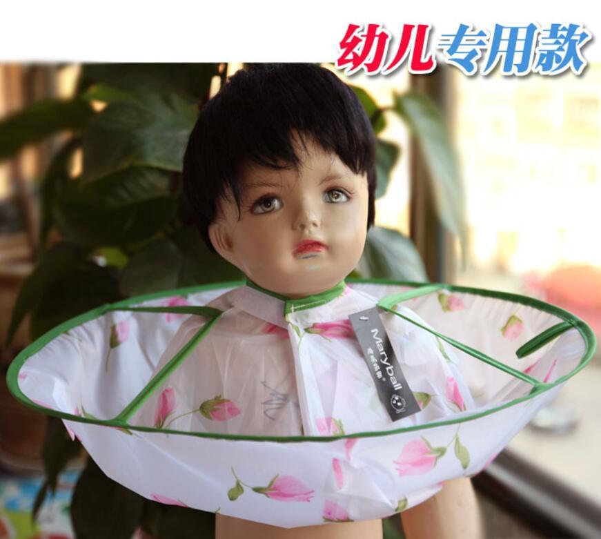 Плащ для стрижки волос накидка-зонтик салон водонепроницаемый детский домашний парикмахерский для детского парикмахера дизайн платья парикмахеров - Цвет: flower