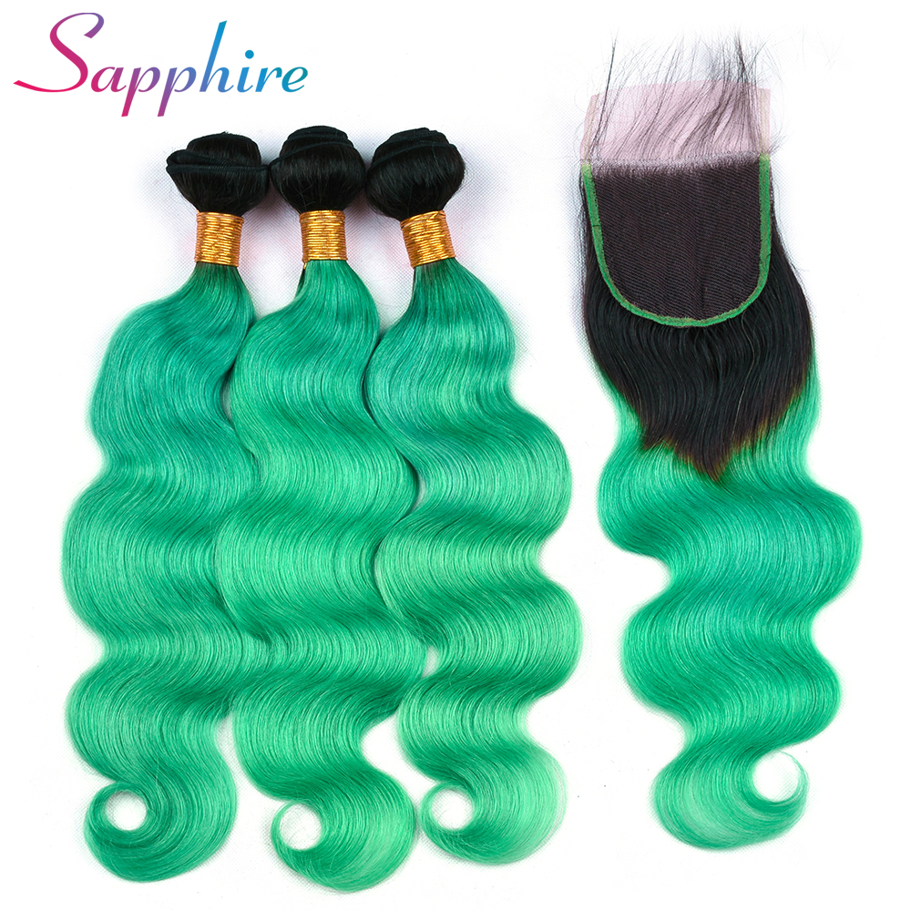 Sapphire Brazilian Body Wave Hair Bundles With Lace Closure 4*4 Free Part Ombre Color Dark Roots Remy 3 Bundles Human Hair