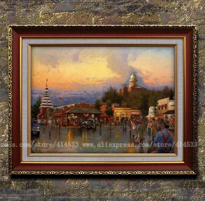 Prints of thomas kinkade oil painting main street - Home interiors thomas kinkade prints ...