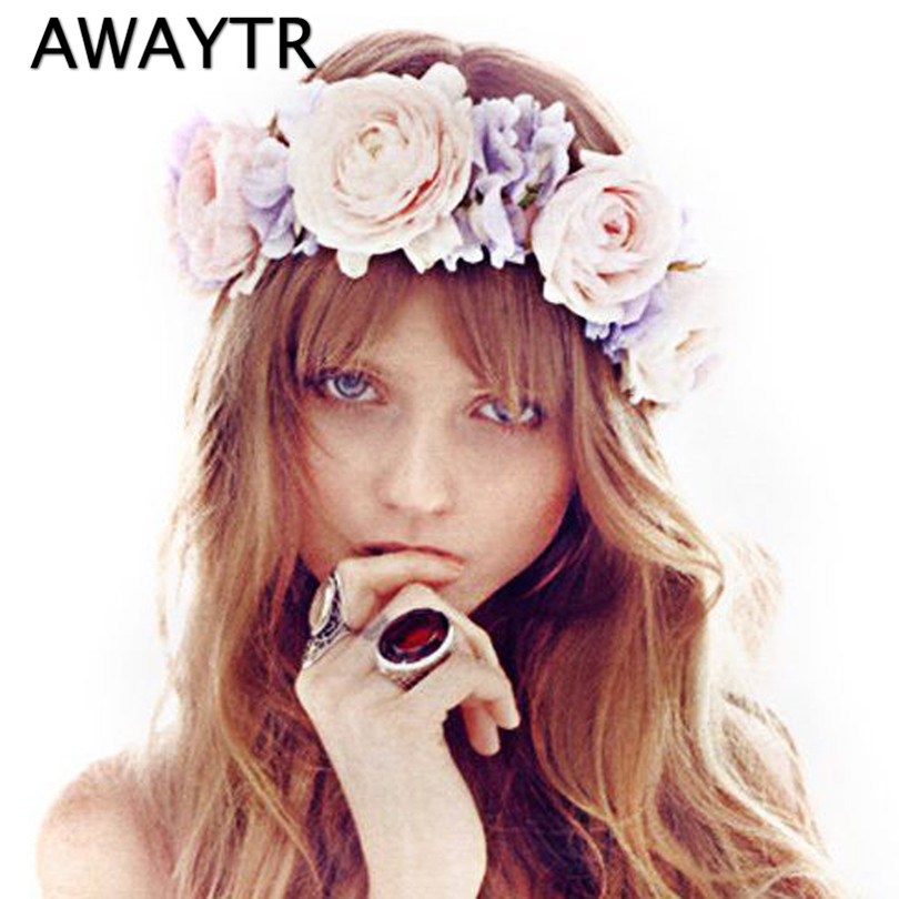 Women Hair Accessories Flower Wreath Wedding Party Garland Handmade Rose Floral Crown Girls Flower Headband Bridal Headdress ins hot selling mom and me feather wreath summer style girls headband flower mommy and child matching garland hair accessories