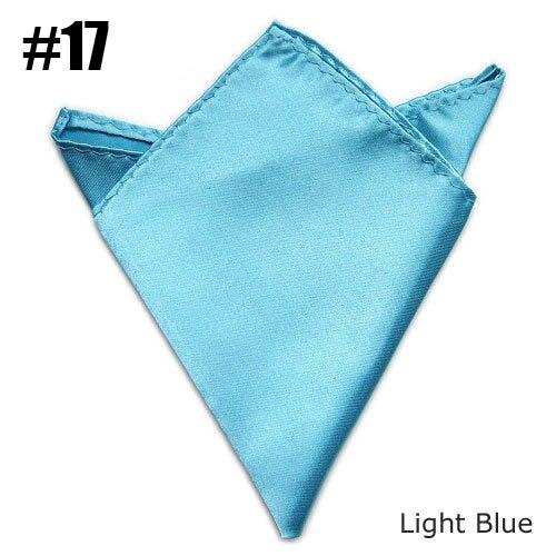 (Light Blue) Gentlenmen Solid Pocket Squares Formal Occasion Uniform Suit Satin Handkerchief
