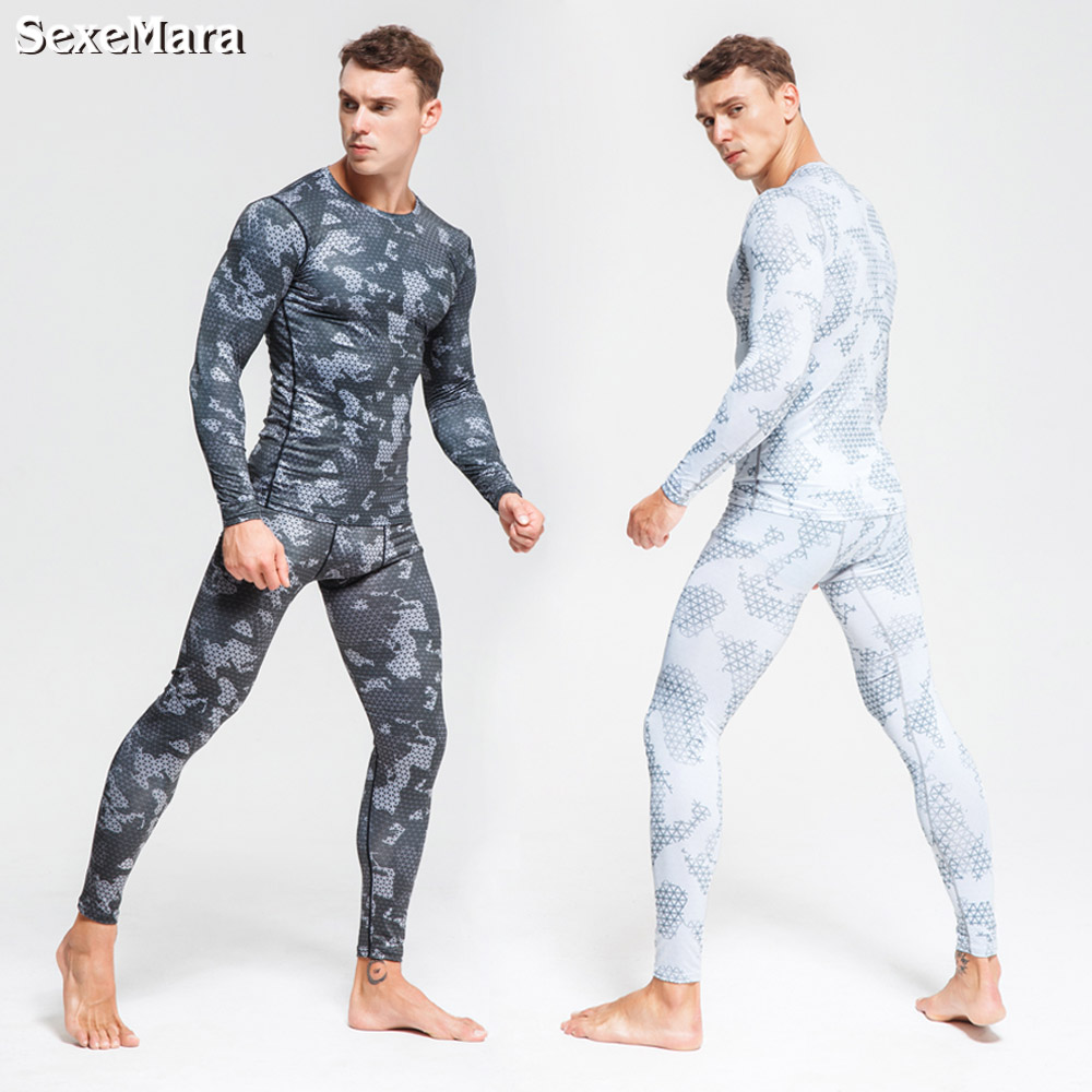 7ed55c7e381ba Men's Long Johns Camouflage Compression Thermal Underwear Sports Suits  Rashgard Tights Gym Clothes Jogging Sportswear For Men ~ Free Delivery July  2019