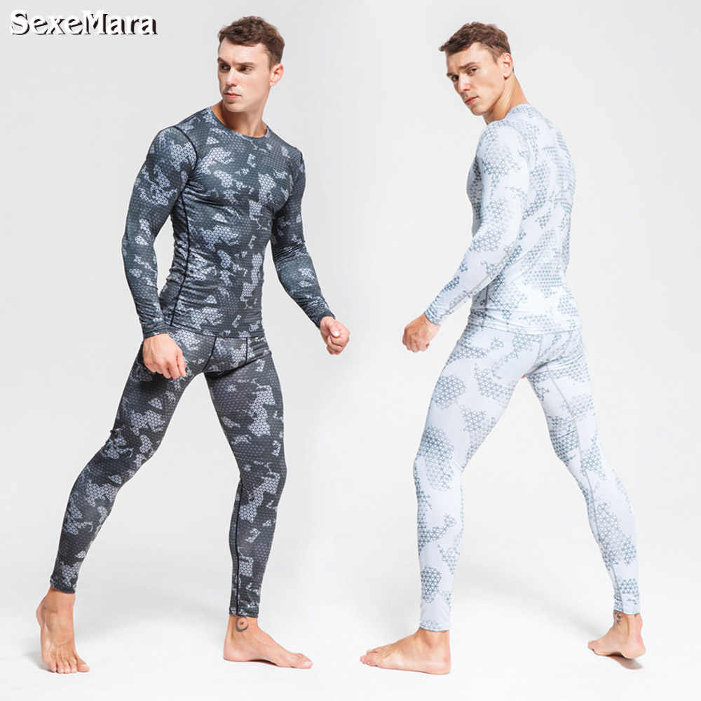 Men's Long Johns Camouflage Compression Thermal Underwear Sports Suits Rashgard Tights Gym Clothes Jogging Sportswear For Men