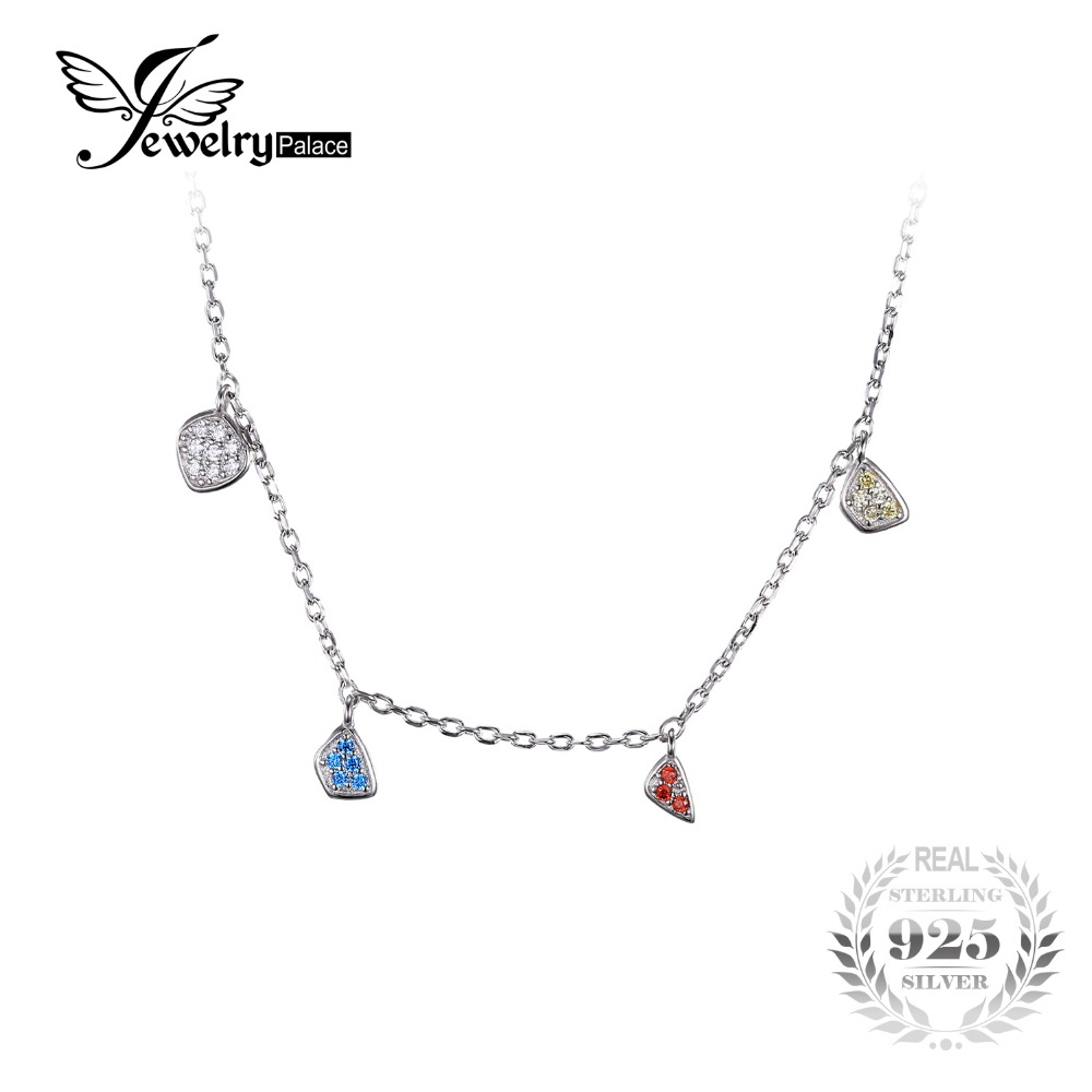 JewelryPalace Fashion Multicolor Dangling Charms Chain Choker Necklace Solid 925 Sterling Silver Gifts For Women Fashion Jewelry