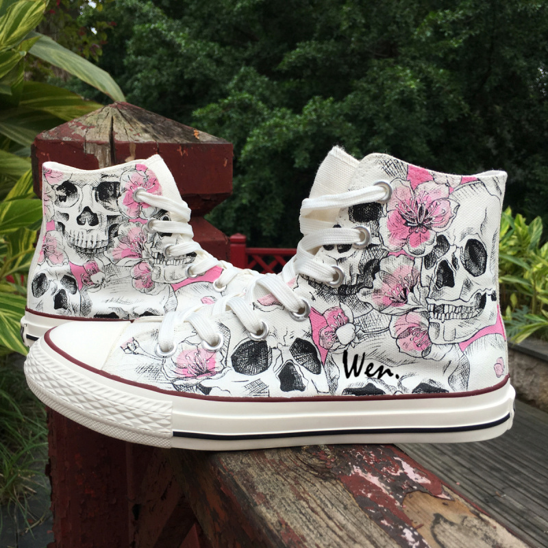 Wen Design Custom Sketch Skulls Pink Flowers Floral Unisex Adult Canvas Sneakers Hand Painted High Top Skateboard Shoes 148vk0282000 115v 32w 172 150 38mm original disassemble