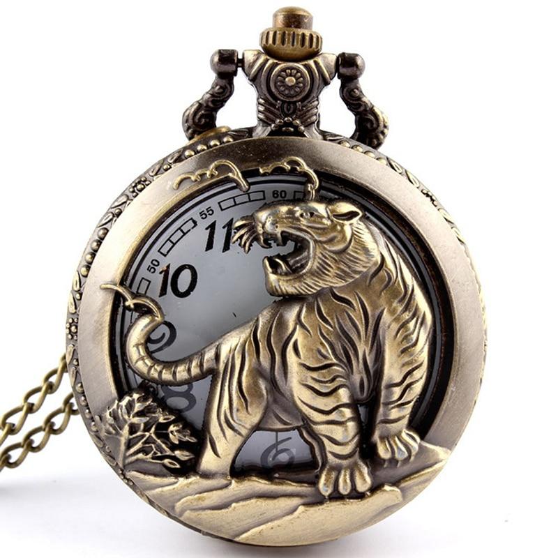 Retro Bronce Enfriar Steampunk Calaveras Tigre Reloj de bolsillo Collar Cadena de cuarzo Bolsillo y Fob Relojes Hombres Regalos Relogio De Bolso