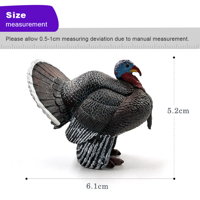 Simulation turkey bird Chicken Farm Pvc animal model figurine home decor miniature fairy garden decoration accessories modern 3
