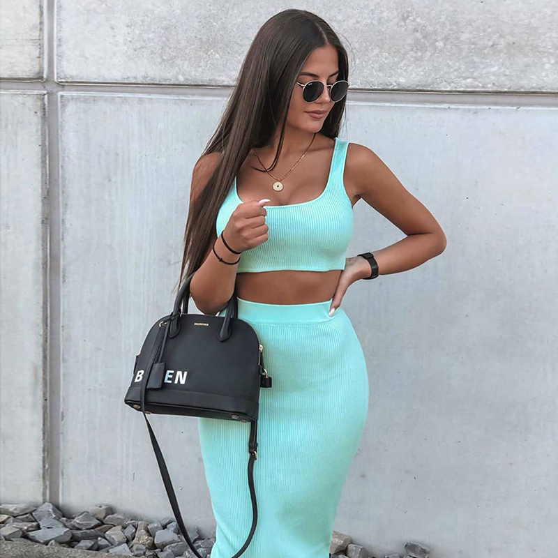 Dulzura neon ribbed knitted women two piece matching co ord set crop top midi skirt sexy festival party 2019 winter clothing 14
