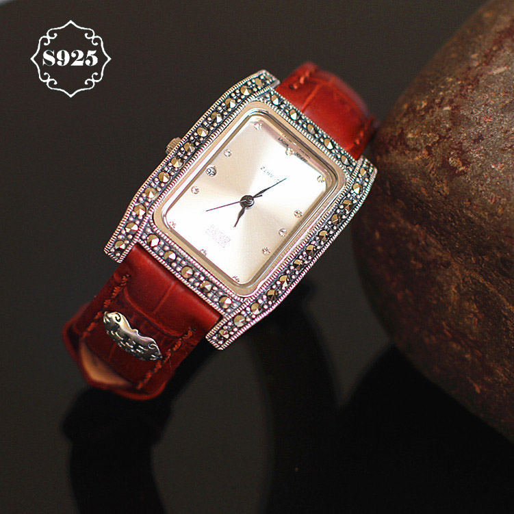 New Arrival S925 Pure Silver Rectangle Watch Leather Band Classical Lady Thai Silver Bracelet Thailand Process Rhinestone Bangle new arrival bs brand quartz rectangle bracelet women luxury crystals bracelet watch lady rhinestone watch charm bangle bracelet