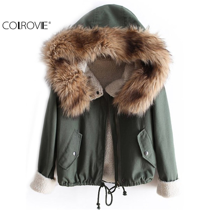 COLROVIE Newest Autumn Fashion Hot Top Faux Fur Green Long Sleeve High Street Women New Fashion Casual Hooded Drawstring Coat