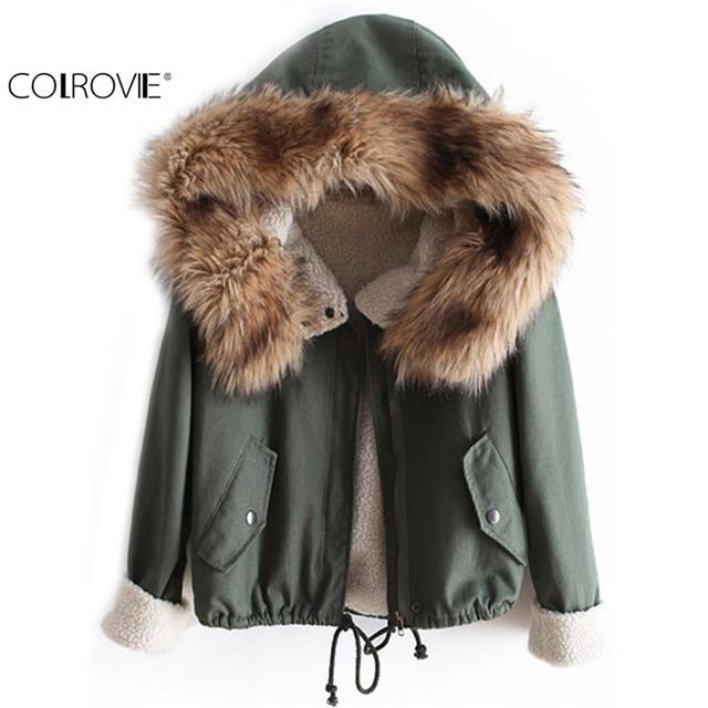 Colrovie новейшая мода осень лидер Искусственный мех зеленый с длинным рукавом High Street Новинки для женщин модные Повседневное с капюшоном шнурок Пальто