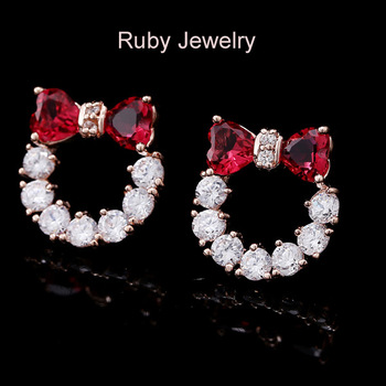 RUBY Brand Fashion Korea Round Red / Blue Cubic Zirconia Brass Stud Earrings Classic High Quality Luxury Platina Earring Hot