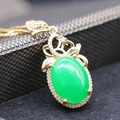 High-end Jewelry Classic Style Oval Malaysian Jade Crystal Gold Plated Pendant Necklace