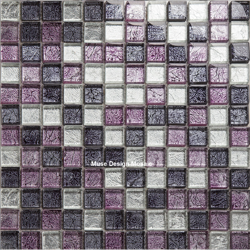 11 Tablets Mystery Purple White Foil Crystal Gl Mosaic Tile For