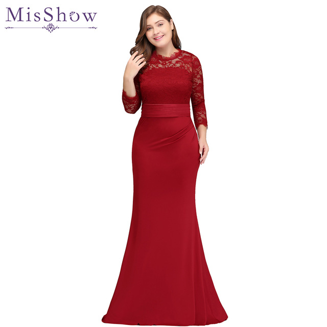 2018 Wholesale Mermaid Bridesmaid Dress Plus Size Satin Lace Red