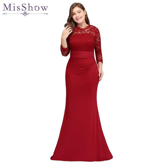 4b765239f3 2019 wholesale Mermaid bridesmaid dress plus size Satin Lace Red Long  bridesmaids dresses wedding party prom toast dress 2019