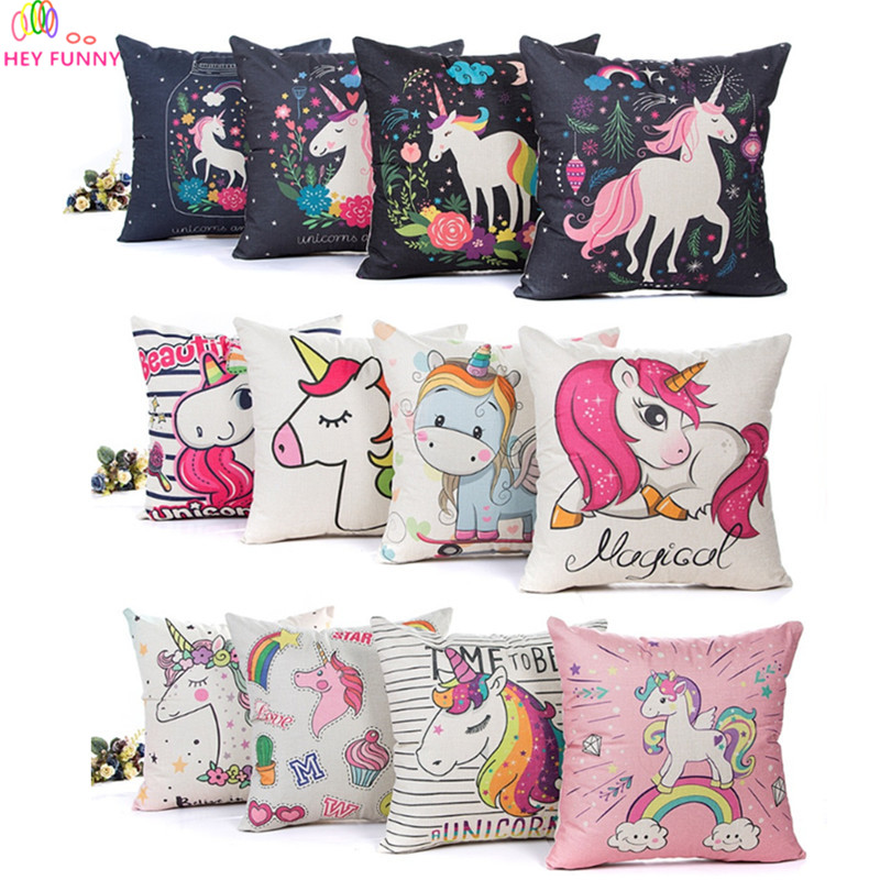 HEY FUNNY 45x45cm Cushion Cover Unicorn Party Decoration For Home Baby Shower Unicorn Gifts Wedding Birthday Decor Party Favors