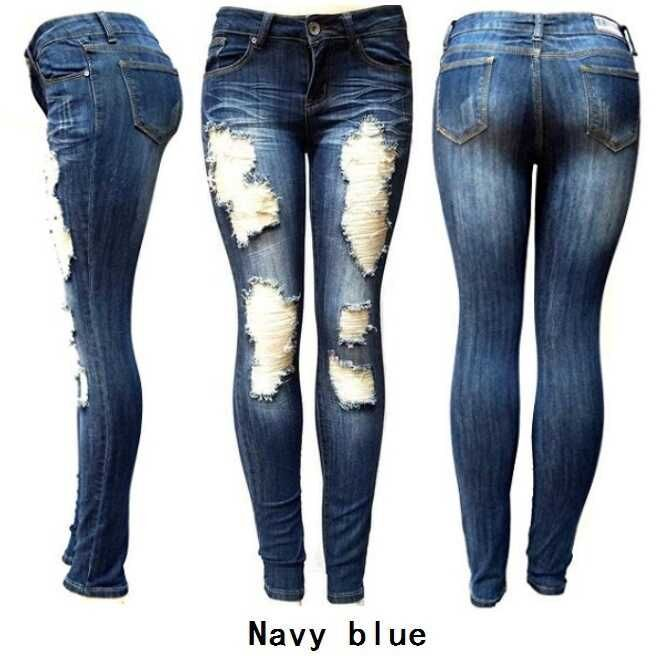 Women Jeans Pant Dark Blue Hole Sexy Pant Long Ripped Jeans Pants Washed Zipper Patchwork Pencil Pants