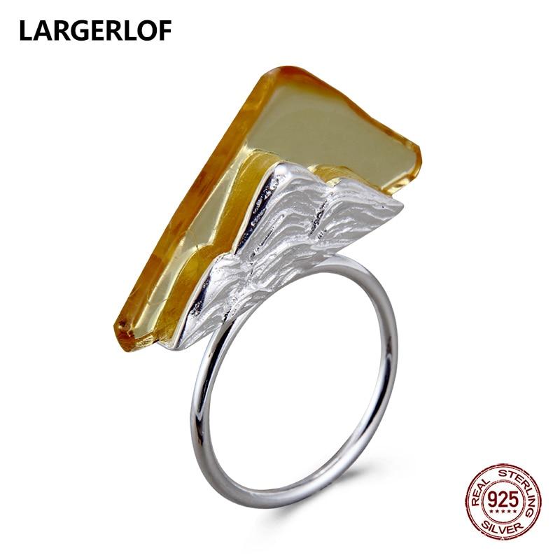 LARGERLOF Silver Ring 925 Women Amber Adjustable Ring Handmade Fine jewelry 925 Silver Jewelry Silver Ring JZ50009 largerlof 925 silver ring women handmade fine jewelry silver 925 jewelry ring silver 925 jz12077