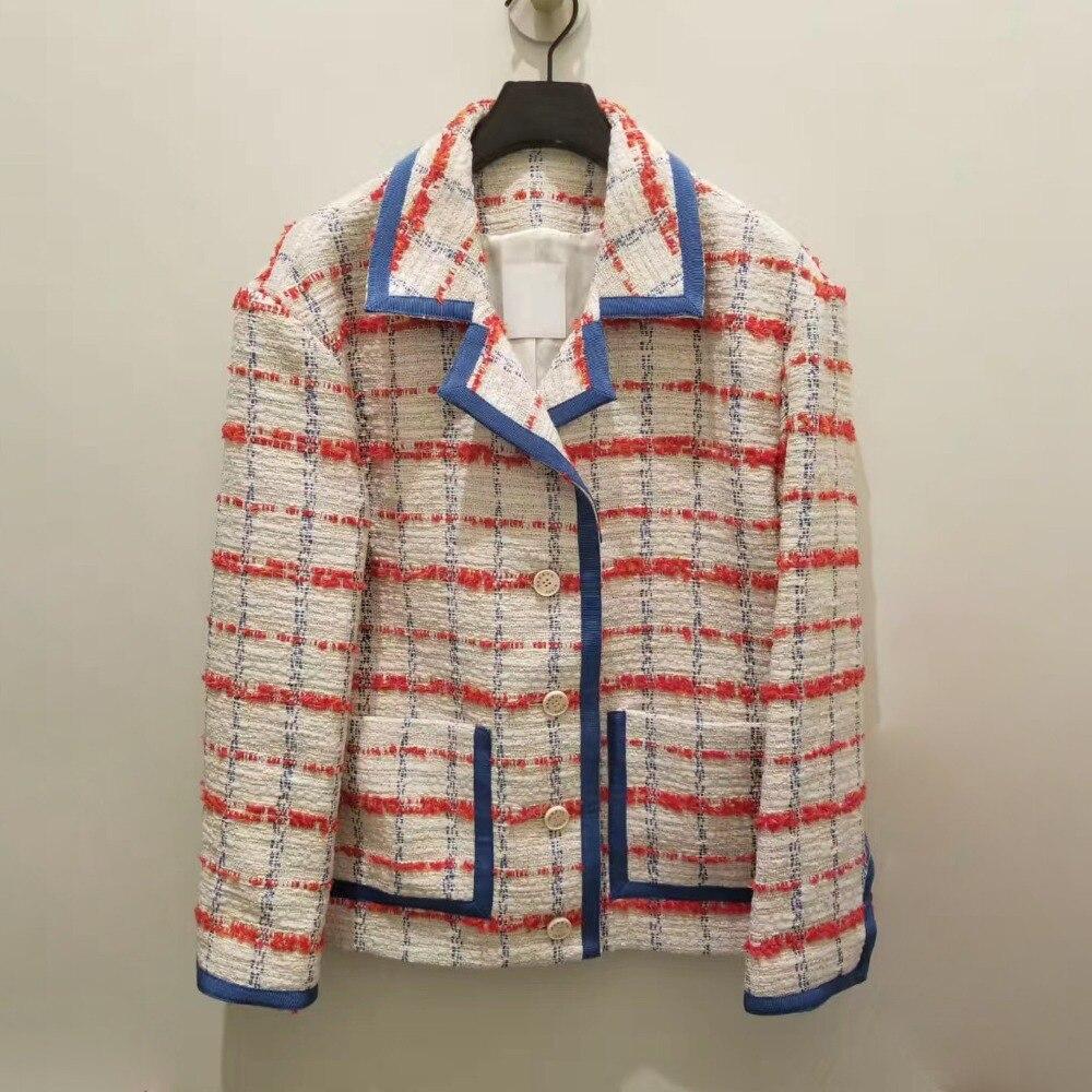 Chic womens elegant plaid coats 2019 spring runways jackets women short coat G138