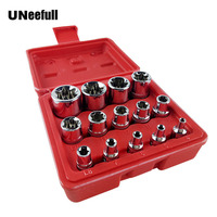 UNeefull 14PC Female Bit Socket Set with a Strong Case CRV 1/2/3/8/1/4 Drive E4 E24 Metal Socket for Auto Car Repair Tools