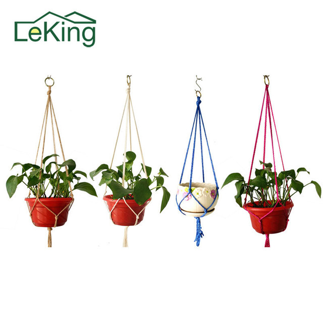Plant Hanger Flower Pot Basket With Holder Handmade Macrame Hanging Rope Hook Suit For Houseplant Decorate Balcony Garden Flower