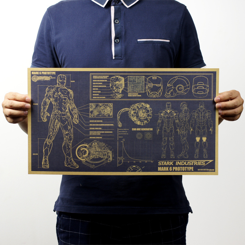 Iron Man Design Drawings Nostalgic Vintage Kraft Paper Movie Poster Magazine Home  Art  Cafe Bar Decoration Retro Posters