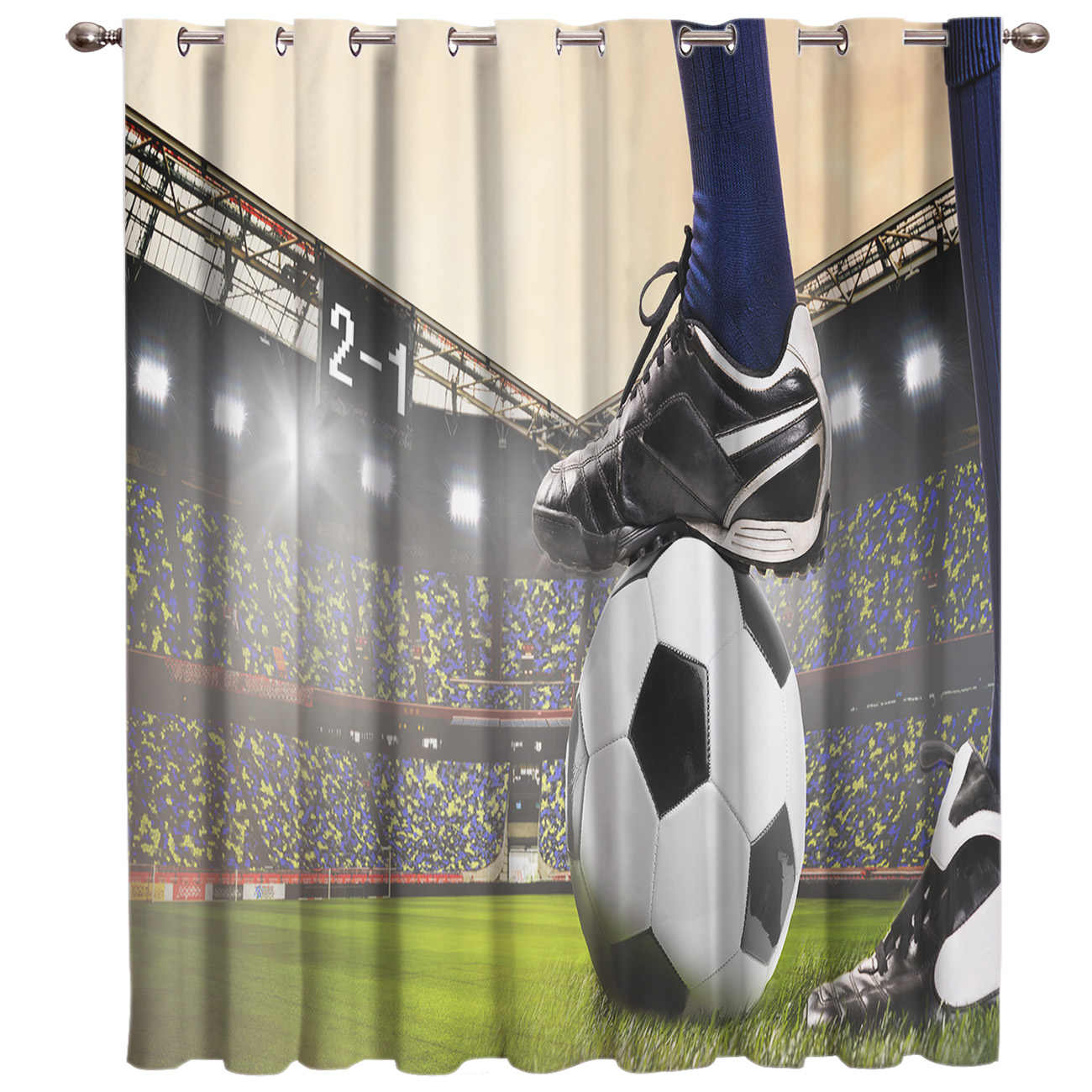 Gymnasium Soccer Curtains Balls Football Design 3D Window Curtains for Living Room Bedroom Kitchen Cortinas Para Sala De Estar