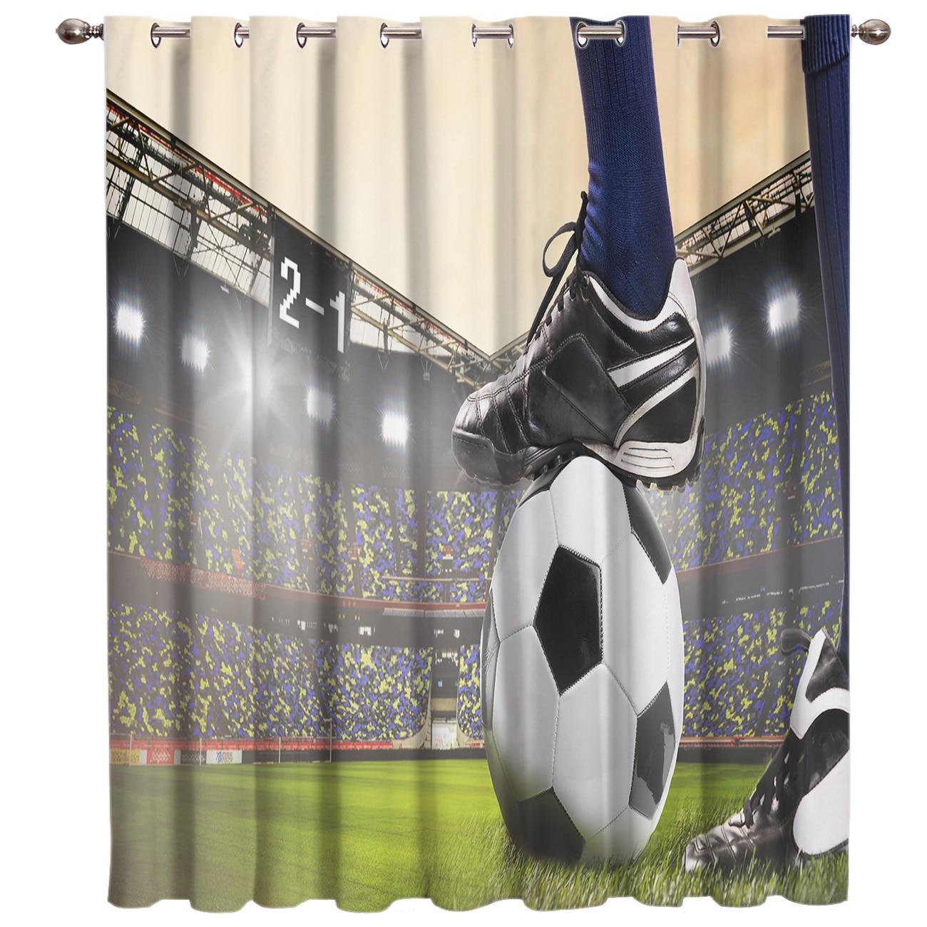 Gymnase Football rideaux balles Football Design 3D fenêtre rideaux pour salon chambre cuisine Cortinas Para Sala De Estar