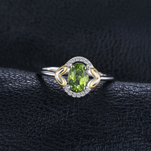 Natural Gemstone Peridot Heart Two Colors 925 Sterling Silver Ring
