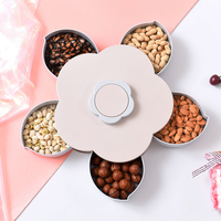 Flower shape five grids dried fruit box plastic with lid candy storage box Household rotating snack peanuts plate mx12291359