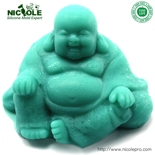 Nicole Buddha 3D Salt Carving Forms Resin Clay Molds Silicone Soap Mould