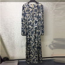 Women Long Dress Elegant Autumn Ladies Printed Dresses 2018 Casual Sleeve Vestidos