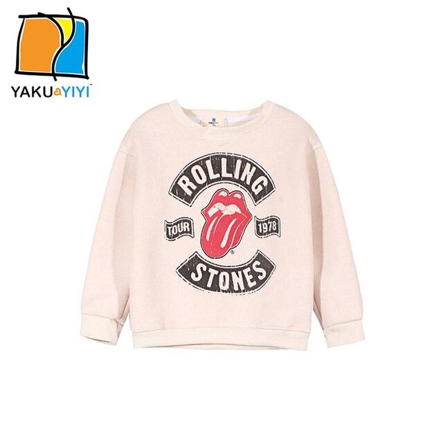 YKYY YAKUYIYI 2017 Brand New Girls Sweatshirt Sweet Letter Print Baby Girl Pullover Tops Soft Long Sleeve Children Sweatshirt