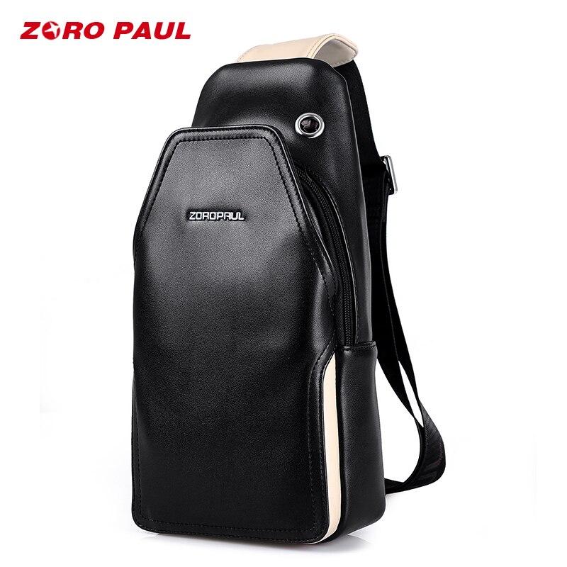 ZORO PAUL Fashion Chest Bag Male Leather Single Shoulder Strap Bag for Men Summer Short Trip Crossbody Messenger Bags Men сумка zoro paul zr1901 3