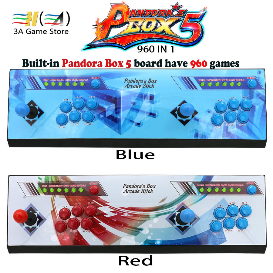 Pandora's box 5 960 in 1 Red/Blue Stickers arcade console 2 players pandora box 5 960 games children game machine controller kit sanwa button and joystick use in video game console with multi games 520 in 1