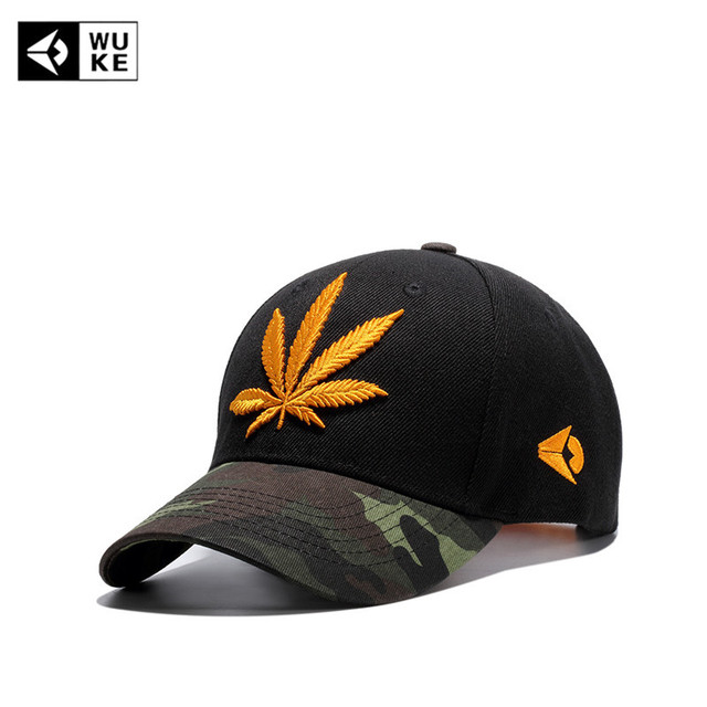62ecd449f97  WUKE  New Embroidery Maple Leaf Casquette Cap Weed Snapback Hats For Men  Women Cotton