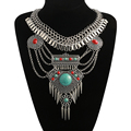 2016 Fashion Maxi Collares Bohemian Necklace Choker Statement Necklace Collier Jewelry Big Gem Gypsy Ethnic Necklaces & Pendants