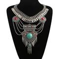 2016 de La Moda Maxi Bohemio Collares Declaración Gargantilla Collar Collar Collier Joyería Gema Grande Étnica Gitana Collares y Colgantes