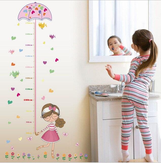% Cute Girl Umbrella Measure Height Wall Stickers Decal Kids Adhesive Vinyl Wallpaper Mural Baby Girl Boy Room Nursery Decor
