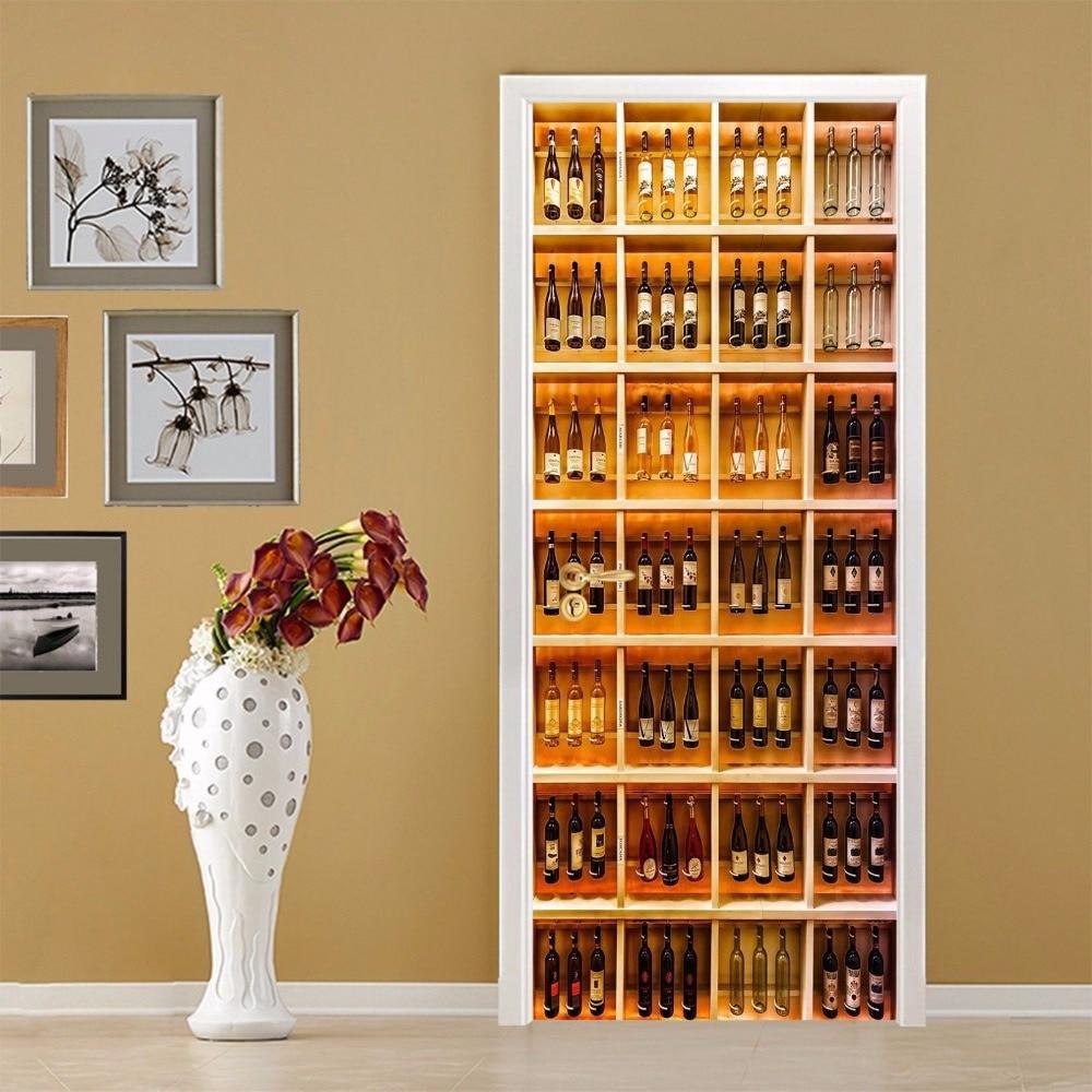 HOT Wine Cabinet Door Wall Stickers DIY Mural Bedroom Home