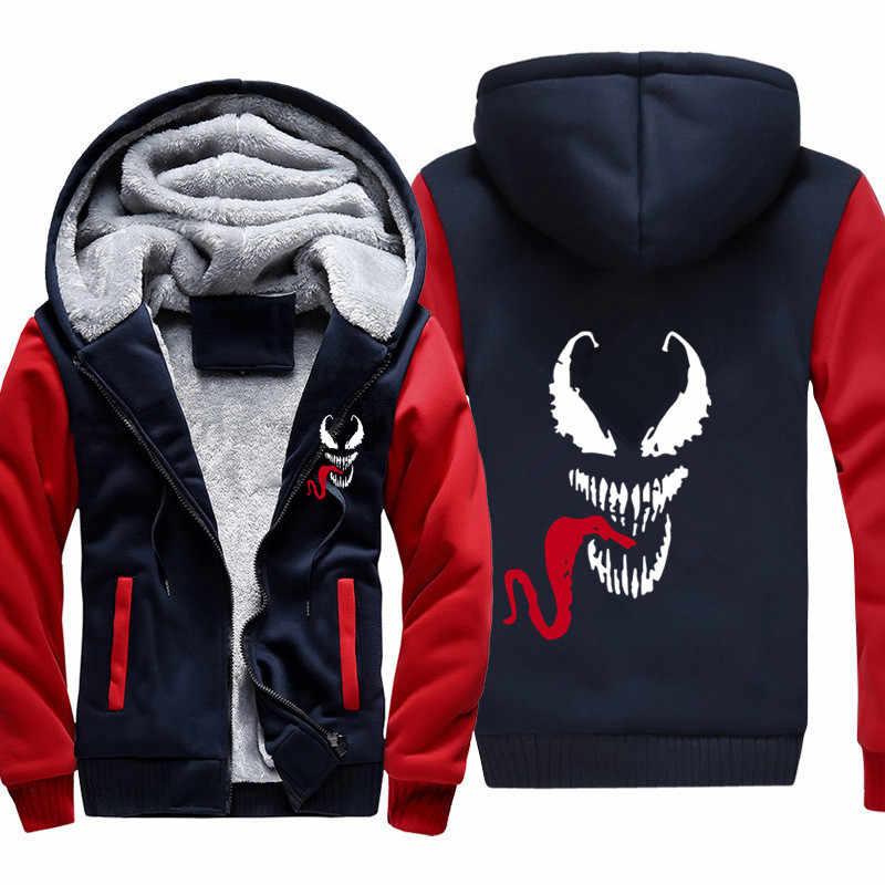 Venom толстовки мужские с капюшоном повседневные шерстяные зимние утолщенные мужское теплое пальто бархатные мужские толстовки пальто кардиган с капюшоном на молнии мужская одежда