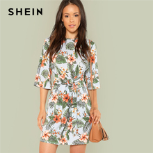 18d15b05d109 SHEIN Multicolor Vacation Boho Bohemian Beach Floral Print Half Sleeve  Dresses
