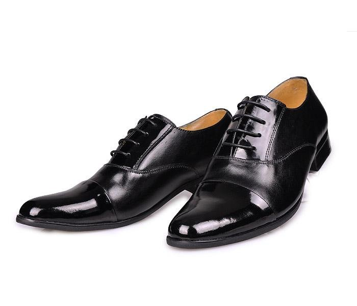 Men Quality Black Patent Leather Dress Shoes With Lace Up Formal